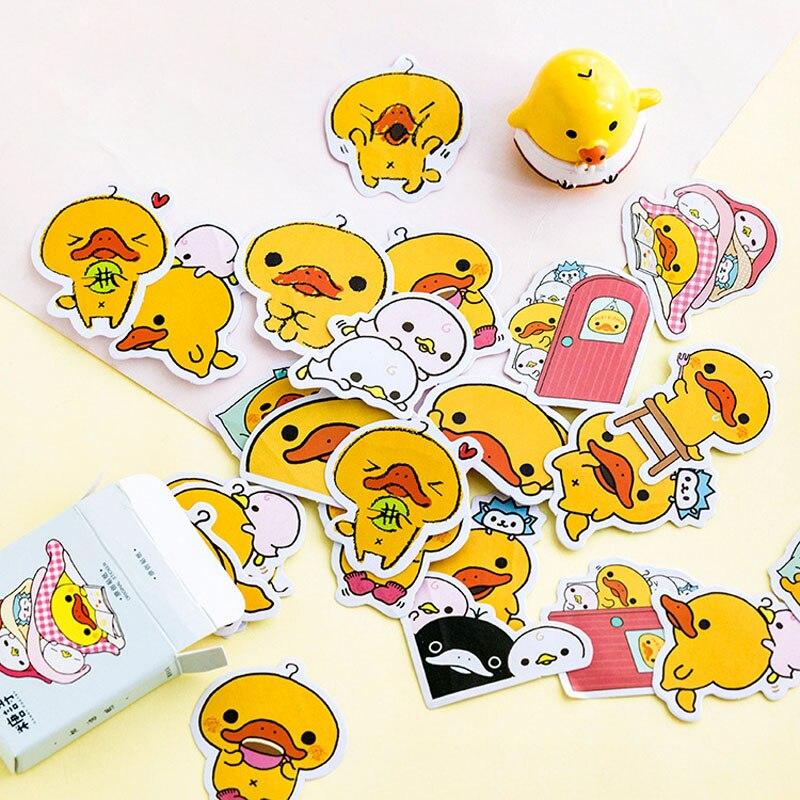 45pcs /box Yellow Duck Mini Decorative Stickers Scrapbooking DIY Diary Album Stick Label Decor Student Supply