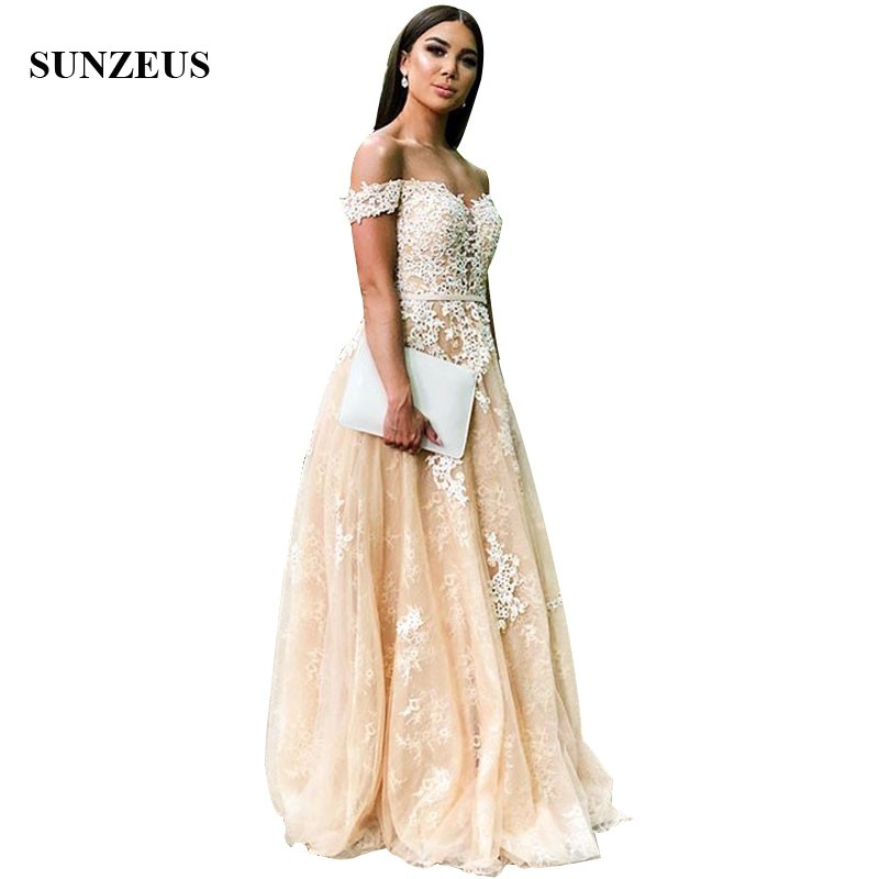 Champagne Lace   Bridesmaid     Dresses   With Beads Apppliques A-line Sweetheart Off Shoulder Women Party Gown Long Wedding Guest   Dress