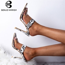 BONJOMARISA New Sexy Thin High Heels Mules Women 2019 Summer Large Size 32-43 Snake Veins Party Slippers Shoes Woman