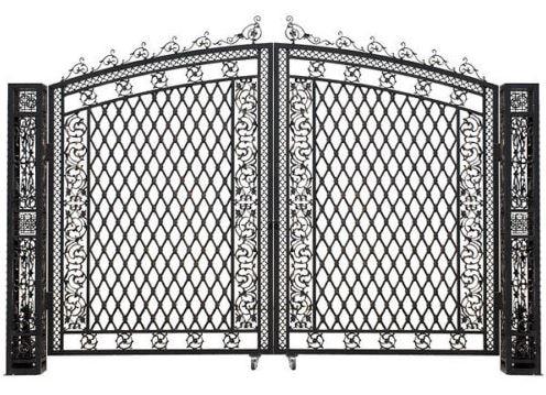 Aluminum Driveway Tall Entry Gate Wide Dual Swing Bridgeton Moore, 127''H.