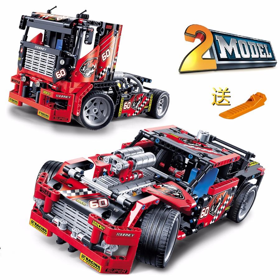 608pcs-Race-Truck-Car-2-In-1-Transformable-Model-Building-Block-Sets-Decool-3360-DIY-Toys