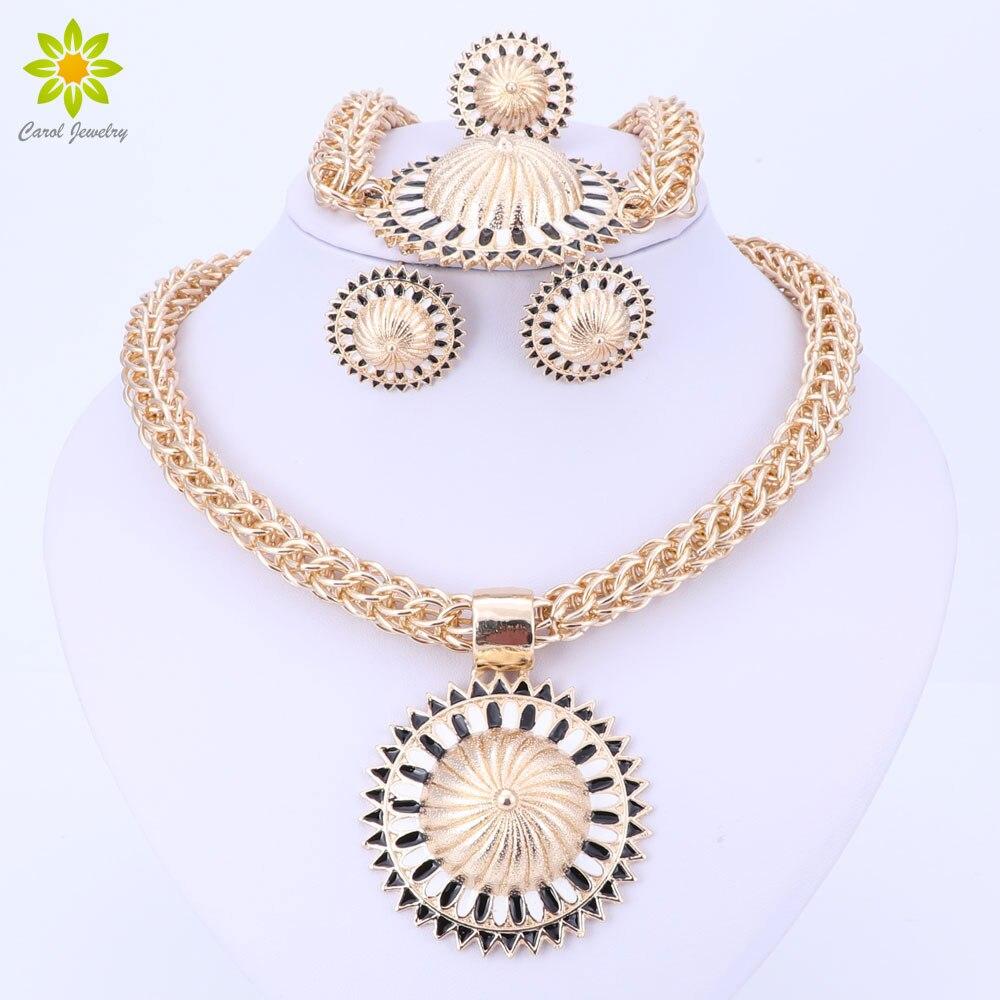 Ženy kostým svatební zlaté barvy šperky sady svatební africké nigerijské módní vintage party Dubaj šperky sady