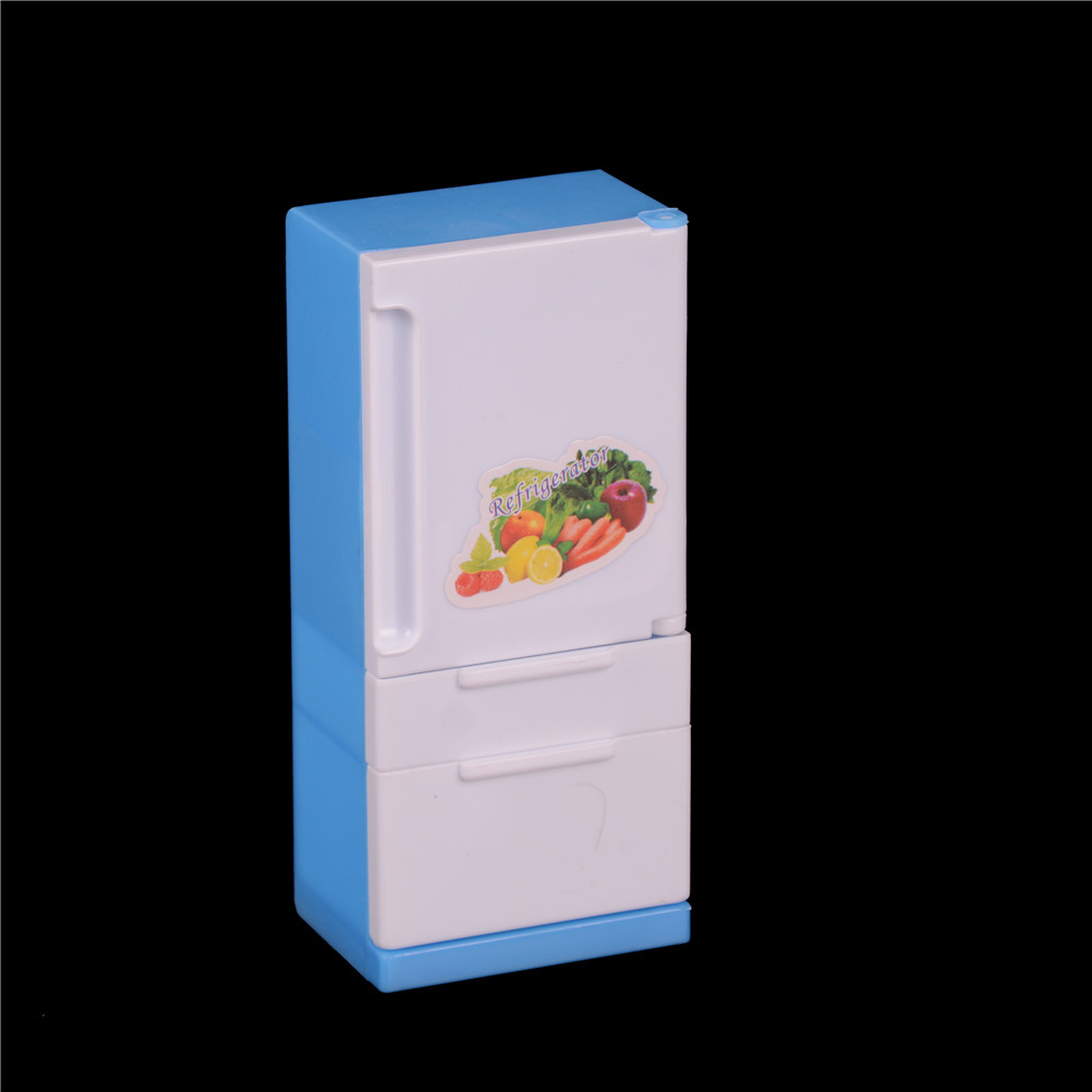 1PCS Doll House Furniture Refrigerator Play Set Doll Sweet Fridge Freezer With Food Lots Of Pieces & Box For   Blue White