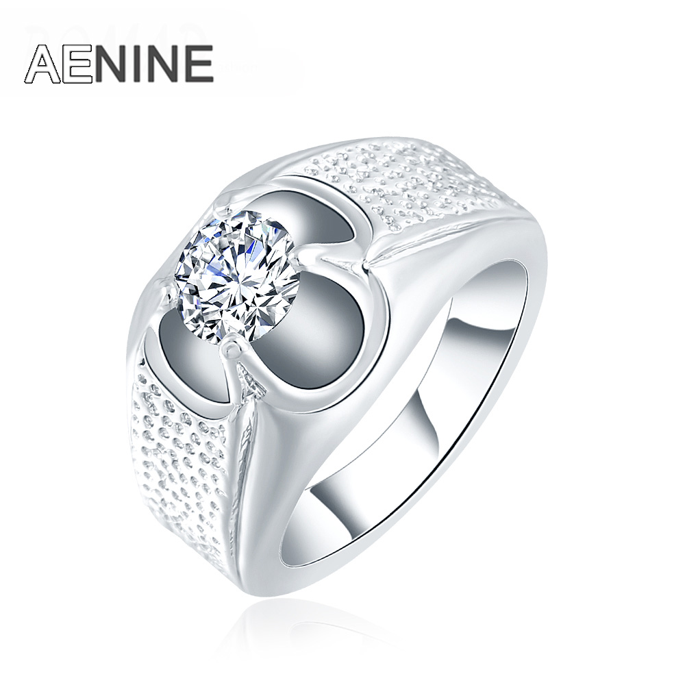 Aenine Fashion Jewelry Ring 4 Prongs Single Cubic Zirconia Hollow Size 6 7  8 Personality Wedding Rings For Women Bague Femme