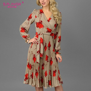 Image 5 - S. טעם נשים פרחוני מודפס אונליין שמלה אלגנטי V צוואר ארוך שרוול לבן Vestidos עבור נקבה נשים מקרית קיץ שמלה
