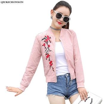 women basic coats 2018 spring summer fashion cropped embroidery bomber jacket ladies thin cropped baseball jackets bombers
