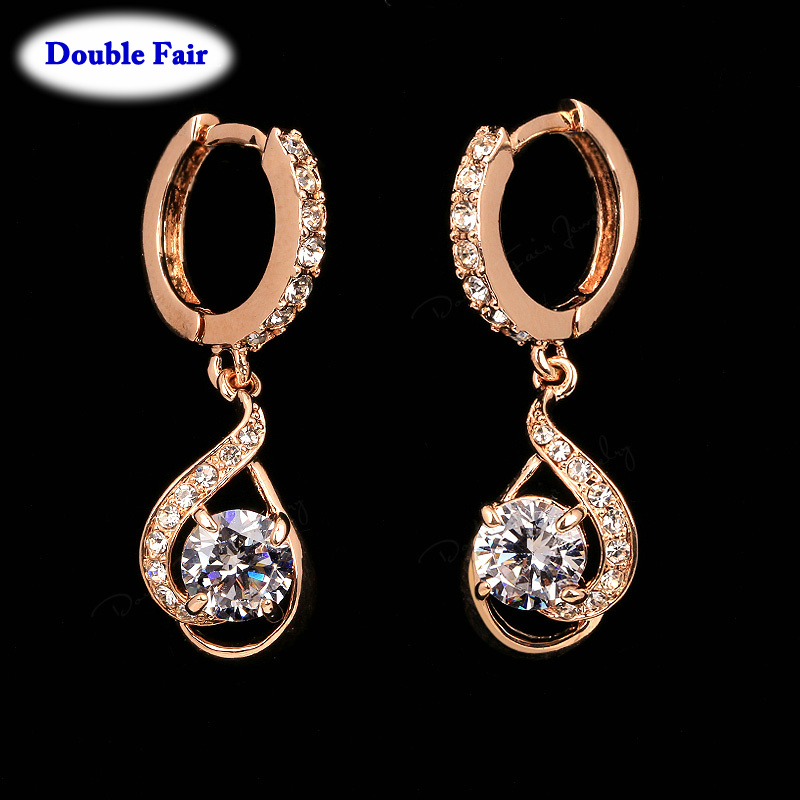 Cubic Zirconia Drop/Dangle Earrings Women Rose Gold Color/Silver Tone Fashion Party/Wedding Jewelry DWE685 - ITALINA JEWELRY store