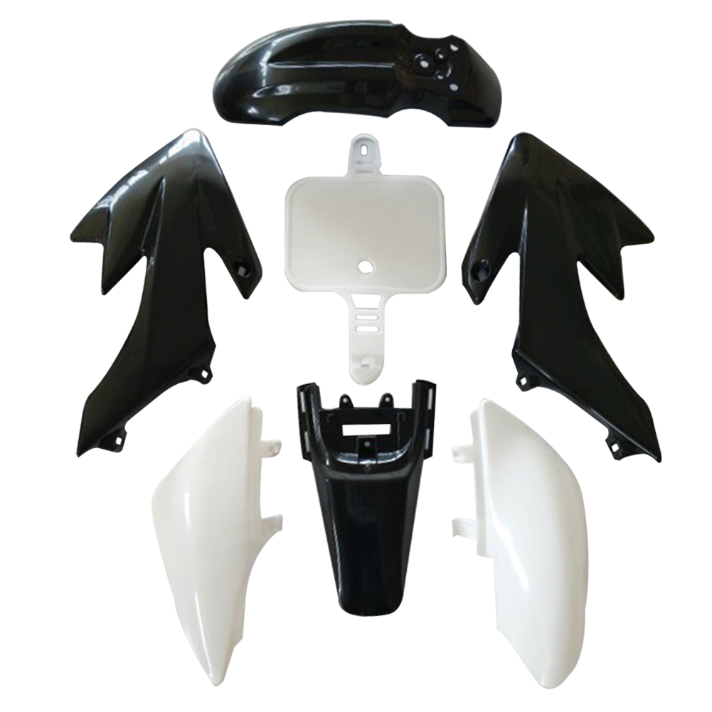 7Pcs Plastic Fairing Blackand White color for Motorcycle Honda CRF XR 50 Car Motorcycle Bike Exterior Accessories Car Styling unpainted white injection molding bodywork fairing for honda vfr 1200 2012 [ck1051]