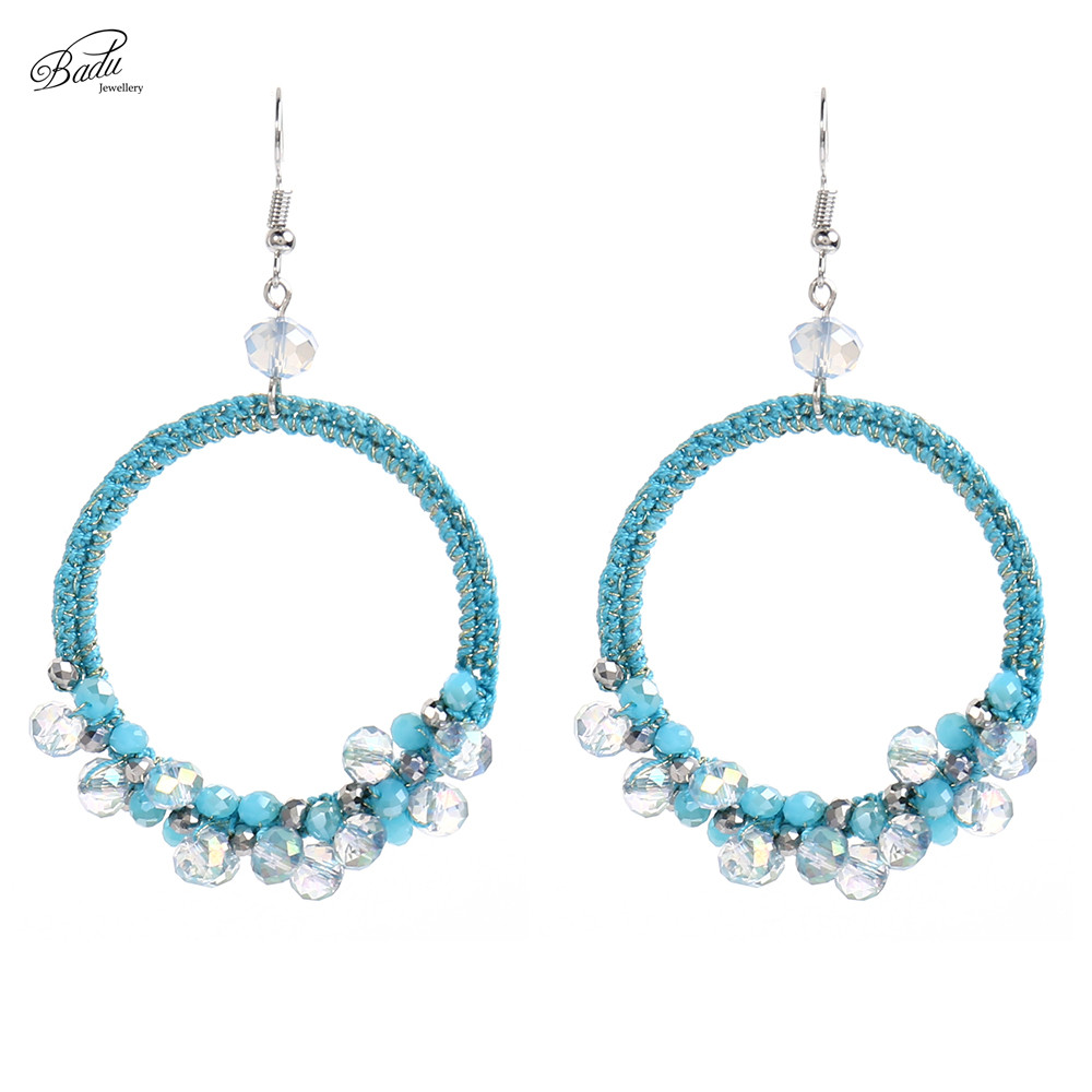 Badu Big Round Drop Earring Vintage Crochet Crystal Women Hollow Dangle Earrings Handmade Jewelry Christmas Wholesale