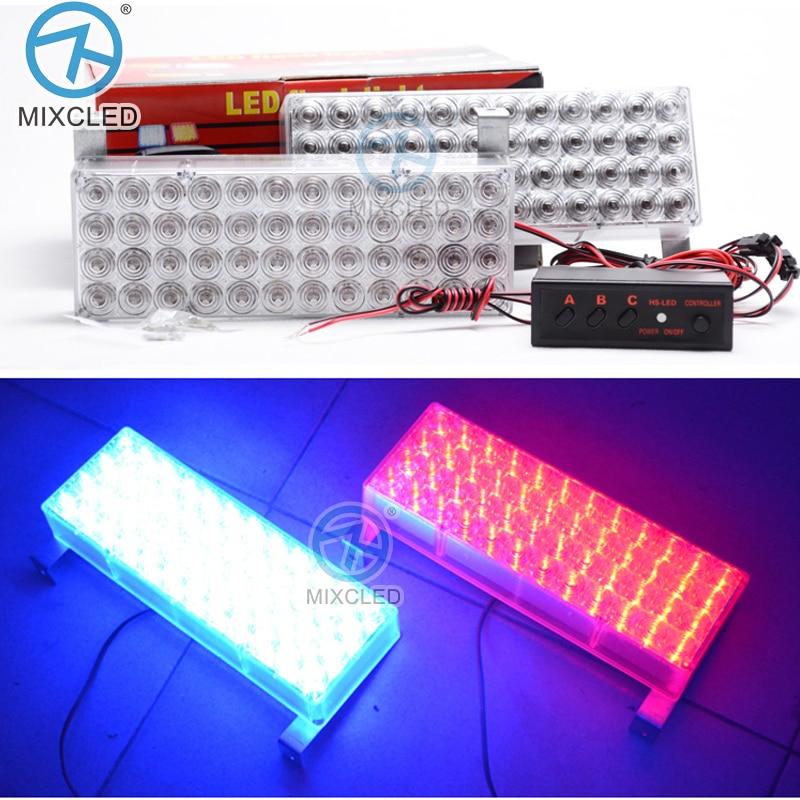 2x48led LED mentőautó Strobe lámpa piros és kék autó - Autó világítás
