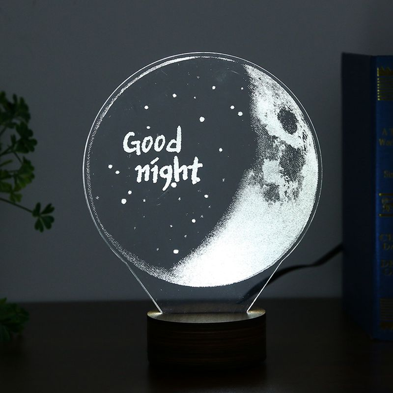 Acrylic 3D LED Night Light USB Charging Light Small Desk Lamp Warm Light Romantic Nightlight Wooden Base Christmas Decoration