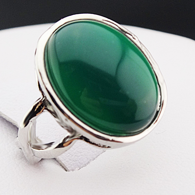 NEW Vintage Gold Silver Color Ring Band Blue Green Stone Women Jewellery Gift