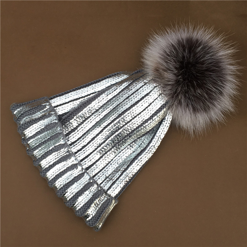 Newest Fluffy Real Fox Fur Pompom Hat For Women Wool Knitting Winter Bobble Pom Poms Hats Thick Female Skullies Beanies Caps