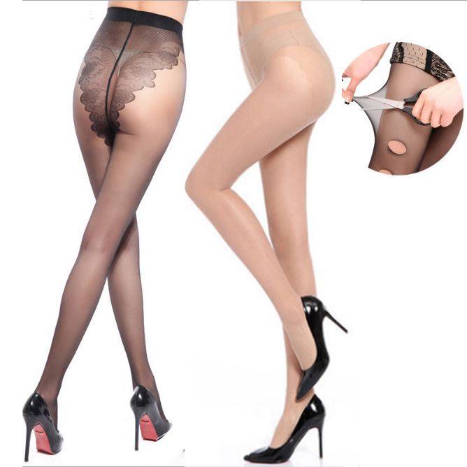 Sexy Women Tights Thin Sheer BIKINI Crotch Stockings Black Temptation Sheer Mock Suspender Patchwork Pantyhose Tights