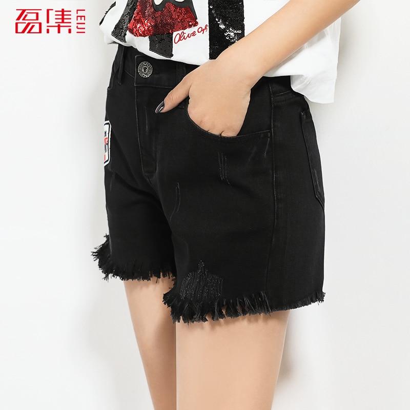 2017 LEIJIJEANS Black denim shorts women Casual pocket jeans ...