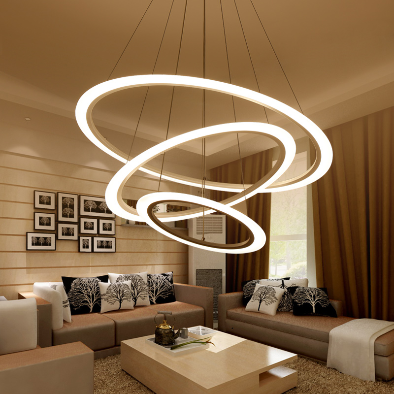 Living room lamp Postmodern chandelier modern minimalist round led chandelier bedroom lamp creative dining room lamp