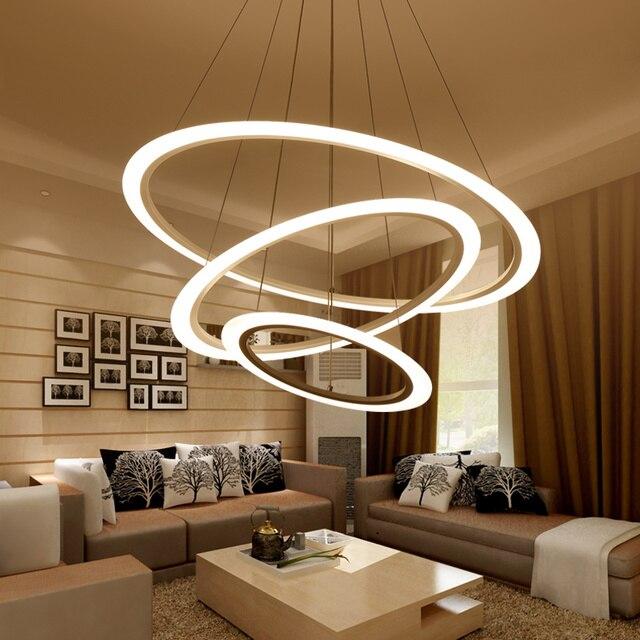 Moderne Kronleuchter LED Kreis Verstellbaren Ring Kronleuchter Licht Für  Wohnzimmer Peeling Plexiglas Lustre Kronleuchter Beleuchtung