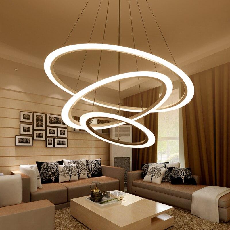Salon lampe Postmoderne lustre moderne minimaliste ronde led lustre chambre lampe créative salle à manger lampe AC85-265V