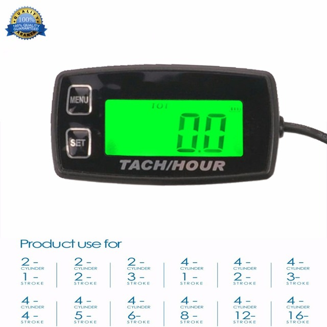 Backlight High Quality Hour Meter Tachometer Rpm For Atv Tractor Generator Lawn Mower Pit Bike