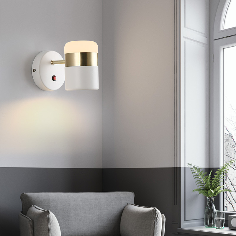 Nordic Design Rotating Sconce Wall Light LED Modern Bedroom Switch Bedside Wall Lamp Iron Loft Home Decor Lighting Fixtures simple modern led wall lamp reading switch adjust wall light fixtures home fabric shade bedside wall sconce indoor lighting
