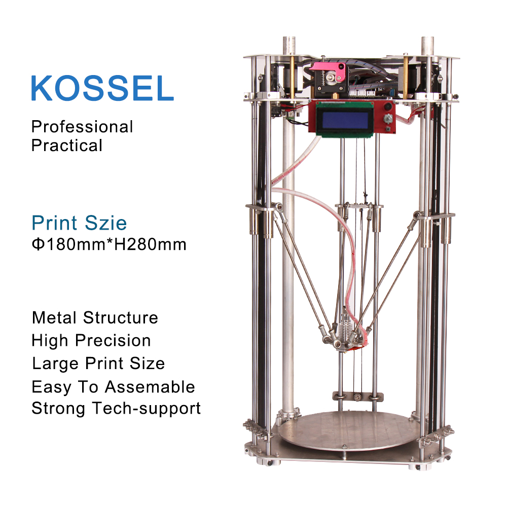 2016 Updated Kossel Full Metal Delta 3D Printer DIY Linear Kit Large Printing Size High Precision with 1 Year Factory guarantee