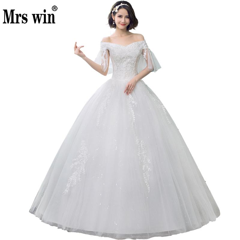 2020 Mrs Win China Cheap Wedding Dress Batwing Sleeve Sexy Boat Neck Vintage Wedding Dresses Lace Up Princess Wedding Gown