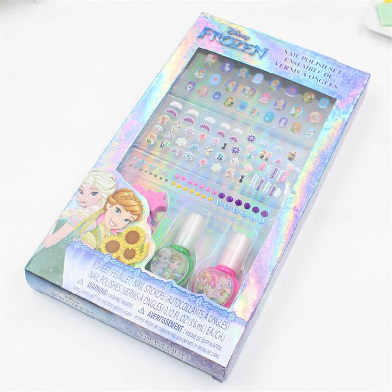 2019 New Makeup Toy Set  Nail Stickers Boxed Children DIY Cartoon Nail Polish Diamond Jewelry Beauty Set