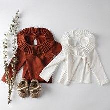 MILANCEL/ г. Новые Детские рубашки с широким рукавом, рубашки для малышей, Простая рубашка одежда для малышей блузка для малышей с оборками и воротником