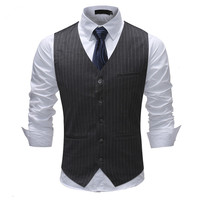YFFUSHI 2018 Fashion Striped Men Vest Spring Single Breasted Vest 5 Buttons Business Casual Style Slim