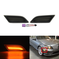 2x CANbus Error Free Amber Front Led Side Marker Indicators Lights For Benz W204 C Class C250 C300 C350 C63 AMG Turn Signal