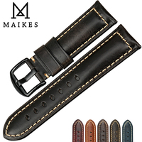 MAIKES Vintage Oil Wax Leather Watch Band 22mm 24mm 26mm Watchbands Black Watch Accessories Bracelet For