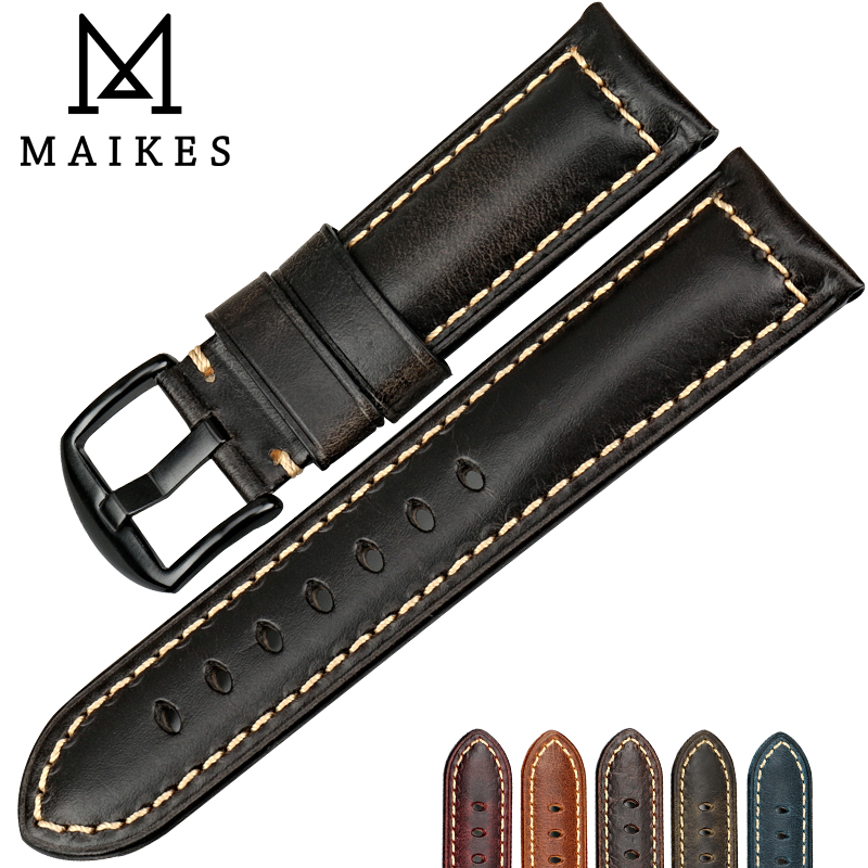 MAIKES Vintage oil wax leather watch band 22mm 24mm 26mm watchbands black watch accessories bracelet for panerai watch strap maikes 18mm 20mm 22mm watch belt accessories watchbands black genuine leather band watch strap watches bracelet for longines