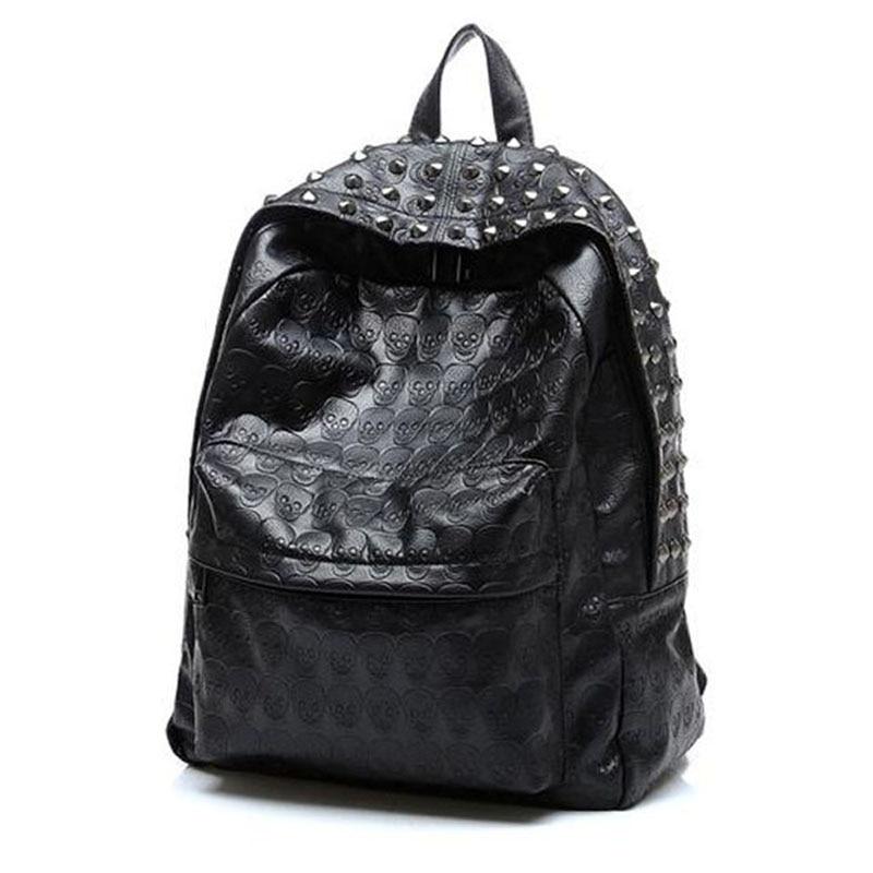 Új 2018 Punk Hip-Hop koponya férfi hátizsákok vízálló PU bőr szegecs nők hátizsákok alkalmi iskola táskák tinédzserek Mochilas