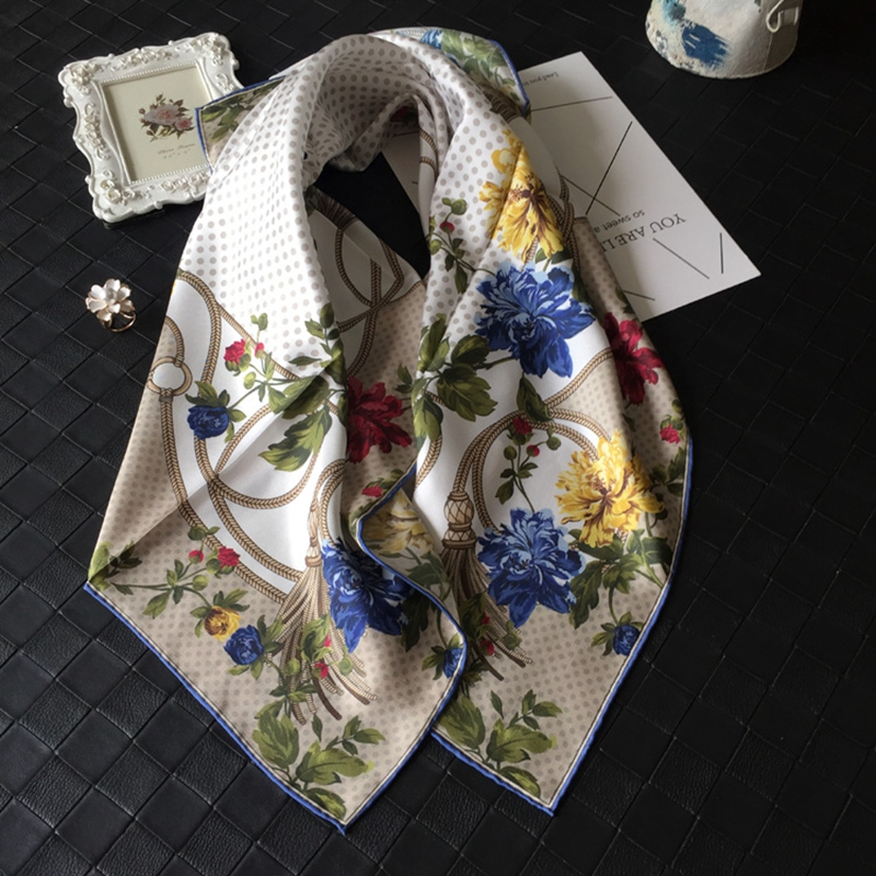 Charming Polka Dots & Floral Prints Large Square 100% Silk Scarf Shawl Hijab 88x88cm
