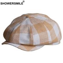 SHOWERSMILE Linen Newsboy Cap Men Women Spring Summer Beret British Style Octagonal Plaid Vintage Male Female Flat