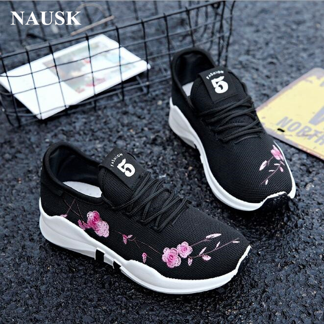 NAUSK Platform sneakers shoes women 2018 new Embroidered peach shallow white sneakers ladies autumn shoes fashion female shoes