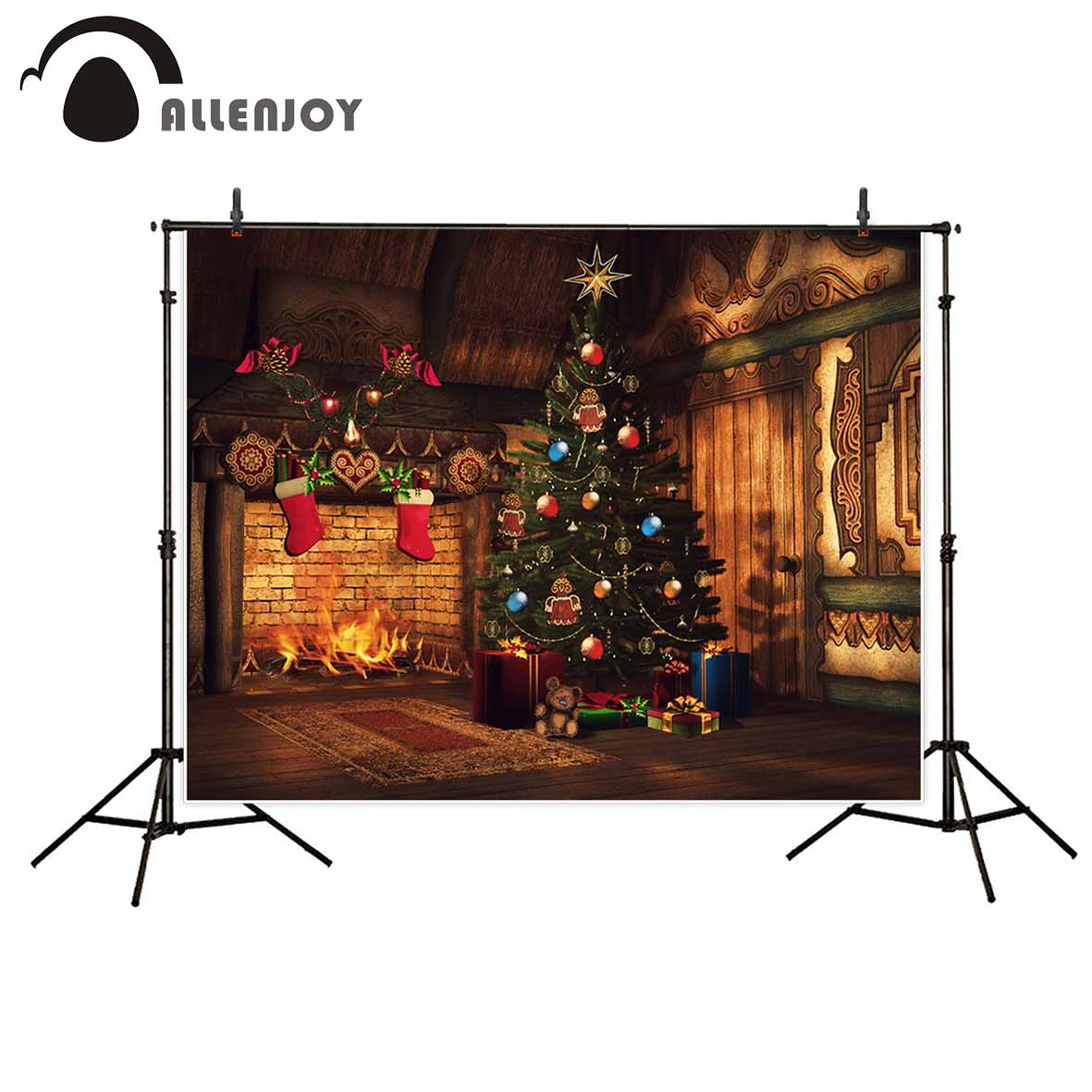 Allenjoy Christmas tree fireplace indoor photography background wood floor gifts stockings decoration baby shower photo backdrop allenjoy christmas photography backdrops christmas background gifts white brick wall wooden floor bulbs table for baby for kids