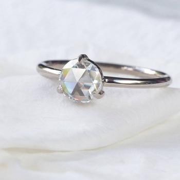 0.87Carat 6.5mm Rose Brilliant Cut DEF Color Moissanite Wedding Ring 18k White Gold For Women Fine Ring 4