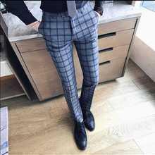 Новая мода горячая Распродажа бренд Осень и зима мужские повседневные высококачественные большие клетчатые брюки мужские тонкие легкие в уходе облегающие брюки