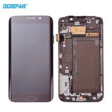 Mavi Beyaz Altın Samsung Galaxy S6 kenar G925F G925I için Çerçeve ile LCD Ekran Dokunmatik Ekran Digitizer Meclisi, Ücretsiz nakliye