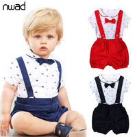 Casual Baby Boy Girl Clothes 2016 Summer New Brand Clothing Suit For Newborn Baby Bow Tie
