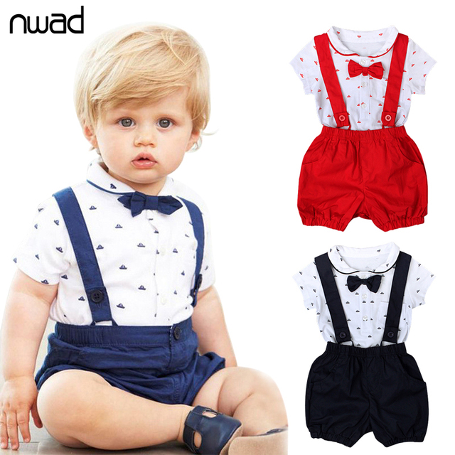 Casual Baby Boy Girl Clothes 2017 Summer New Brand Clothing Suit For Newborn Baby Bow  Tie Bodysuit + Suspender Trousers FF162