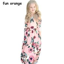 f214b7a4a8a59 Fun Orange Girls Dress Beach Bohemian Dress for Baby Girls Floral Party  Maxi Dresses Long Sleeve Kids Princess Dress