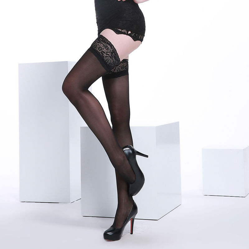 Wanita Lace Top Stay-up Paha Stoking Tinggi 40 Denier Core-berputar Silk Sheer Over Knee Nylon Sexy Hosiery