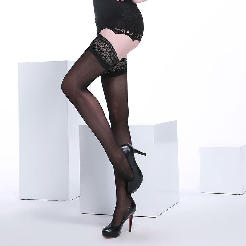 Женске чипкасте торбице од стајаћих ногавица Високе чарапе од 40 дениер језгре од врха до колена, секси ногавице