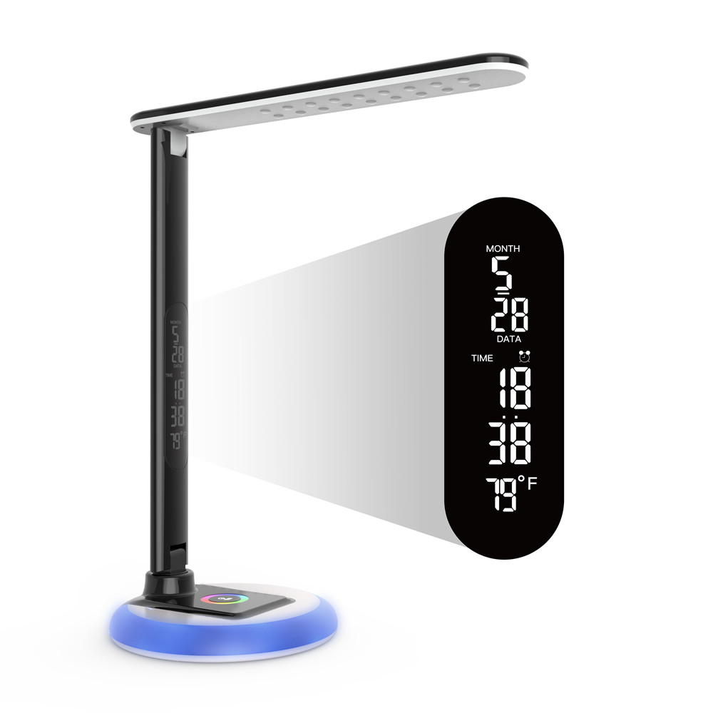 10W LED Desk Lamp Dimmable Office Study Table Ligh with Clock,USB Charging,Color Changing Base,Touch Control,9 Light Modes,Black10W LED Desk Lamp Dimmable Office Study Table Ligh with Clock,USB Charging,Color Changing Base,Touch Control,9 Light Modes,Black