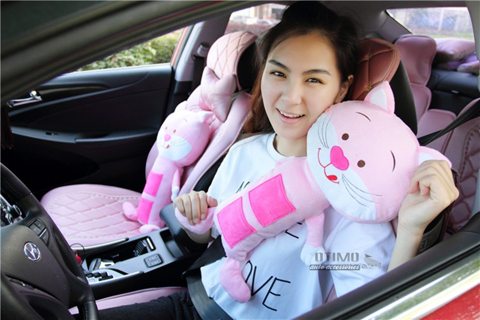 Shopping Cute Cartoon Hello Kitty Car Seat Belt Shoulder Padding Pink Cat Car Seat Belt Covers for Children Safety Protect Toys 2