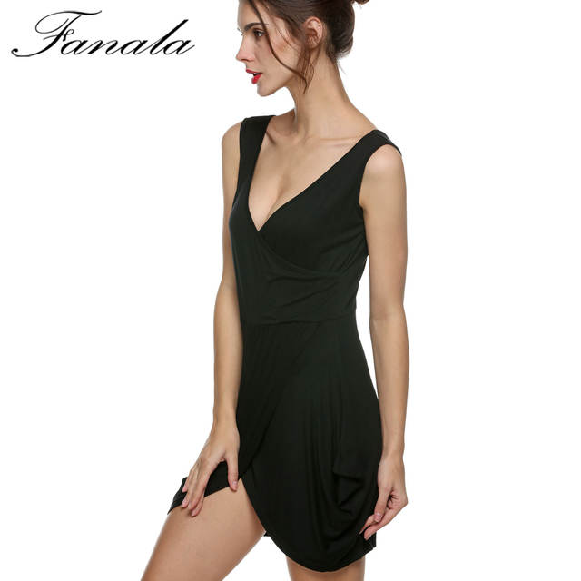 8fc543ccbedf0 FANALA Casual Ladies Dress Sex Evening Party Sleeveless Dresses V Neck Women  Summer Dress Vestidos Plus