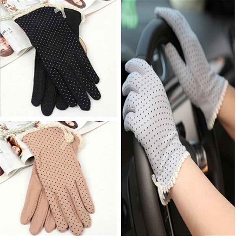 2019 New Arrive 1 Pair Women Cotton Gloves Sunscreen Slip-resistant Gloves Female UV Protection Gloves