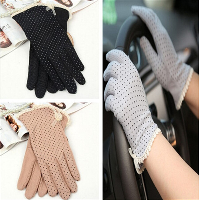 New Arrive 1 Pair Women Cotton Gloves Sunscreen Slip-resistant Gloves Female UV Protection Gloves